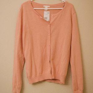 NEW H&M peach cardigan sweater